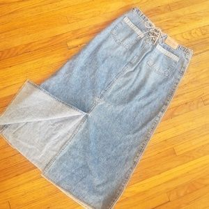 Vintage denim skirt long 90s grunge style xs